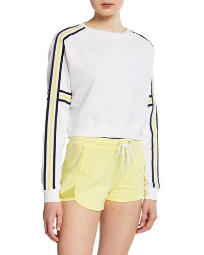 Norris Crewneck Striped-Sleeve Crop Top