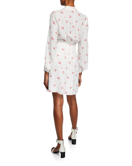 Equipment Allaire Printed Long-Sleeve Silk Wrap Dress