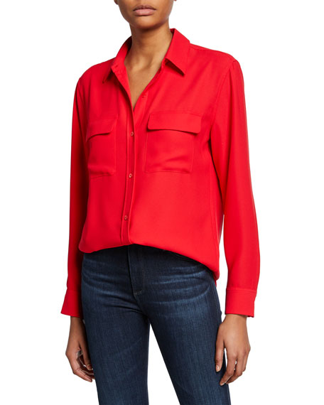 Equipment Tops Signature Button-Down Long-Sleeve Collared Blouse