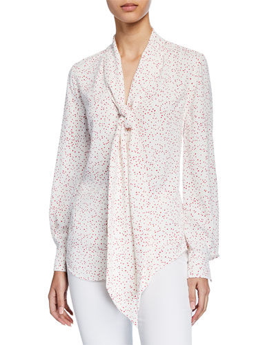 Haty Dotted Button-Front Blouson-Sleeve Blouse