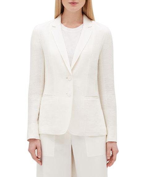 Lafayette 148 New York Vangie Rattan-Weave Button-Front Linen Jacket