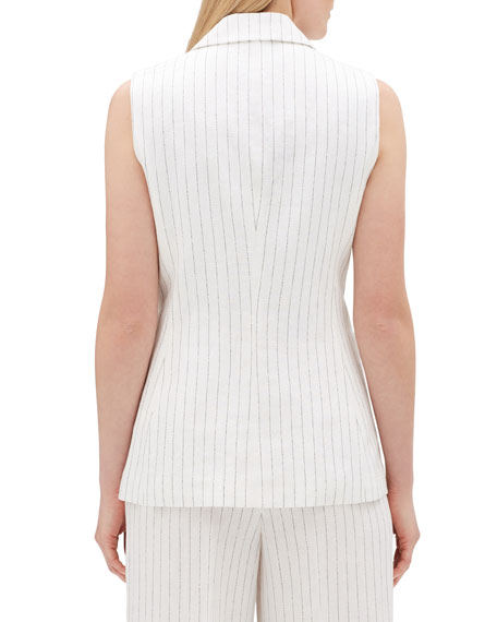 Lafayette 148 New York Vanya Arcadian Pinstripe One-Button Vest