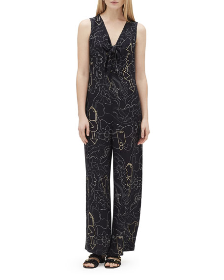 Lafayette 148 New York Adelphi Progressive-Print V-Neck Sleeveless Jumpsuit