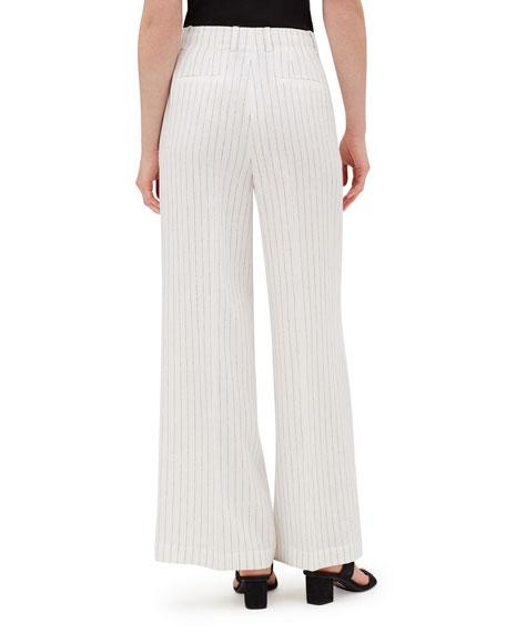 Lafayette 148 New York Kensington Arcadian Pinstripe Wide-Leg Linen Pants