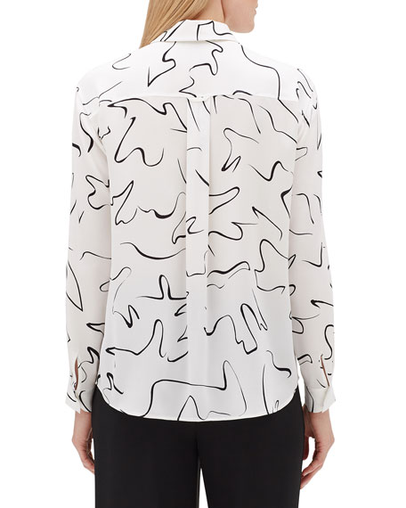 Lafayette 148 New York Zora Scribble Print Long-Sleeve Silk Blouse