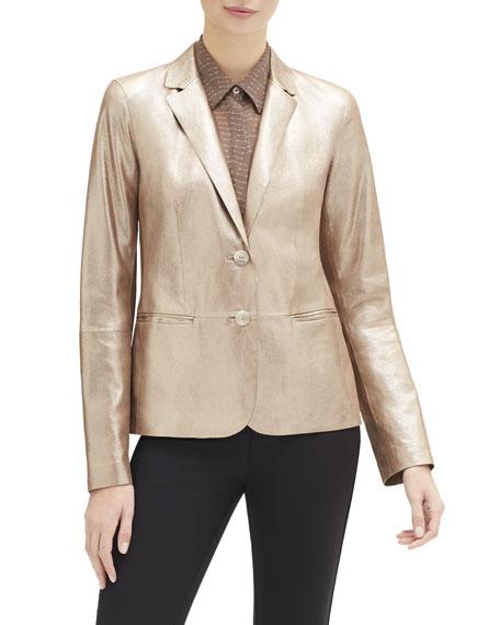 Lafayette 148 New York Camden Stardust Glitter Button-Front Suede Jacket