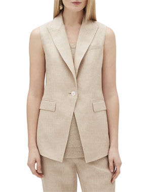 a518b3b2944 Lafayette 148 New York Vanya One-Button Nexus Linen Vest