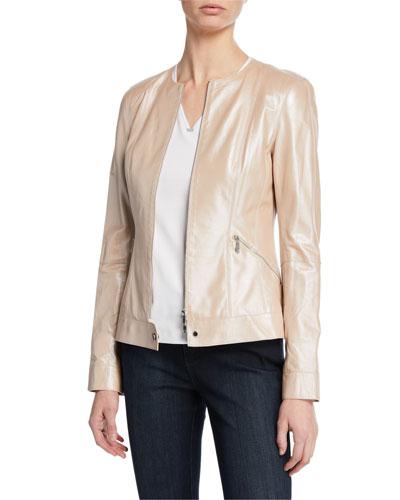 Mick Zip-Front Pearlized Nappa Lambskin Leather Jacket