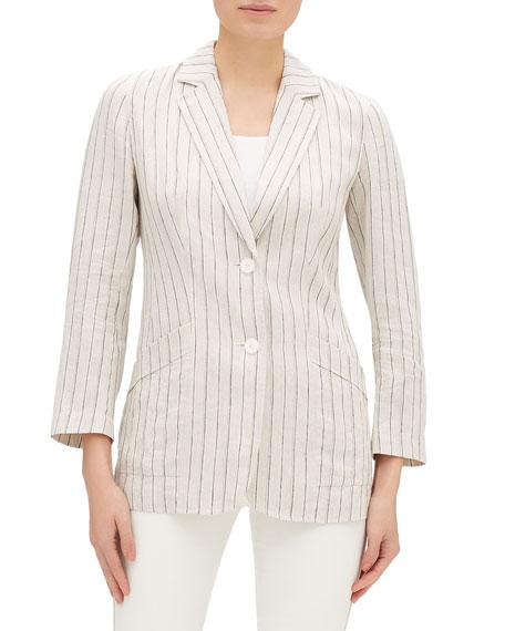 Lafayette 148 New York Boston Sundance Stripe Button-Front Jacket