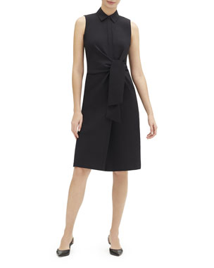 888fa1702a Lafayette 148 New York Cabella Sleeveless Tie-Front Stretch-Cotton  Shirtdress