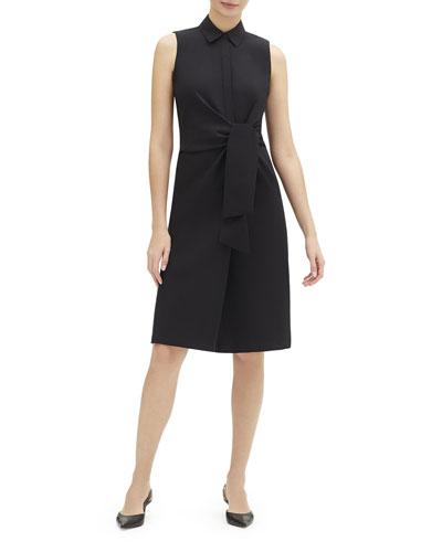 Cabella Sleeveless Tie-Front Stretch-Cotton Shirtdress