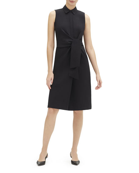Lafayette 148 Dresses CABELLA SLEEVELESS TIE-FRONT STRETCH-COTTON SHIRTDRESS