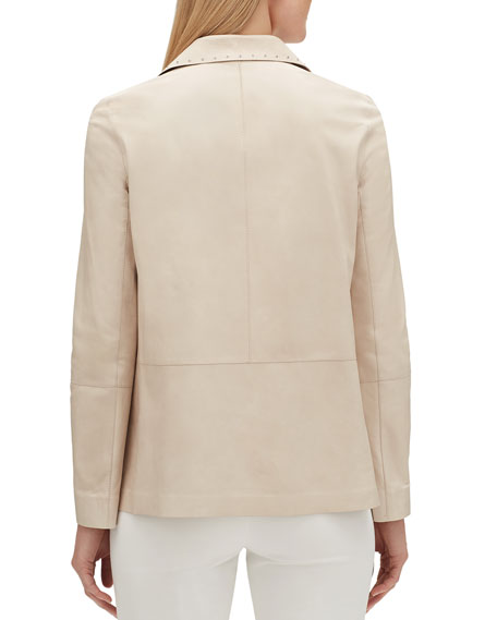 Lafayette 148 New York Jolisa Button-Front Glazed Weightless Lambskin Leather Jacket w/ Grommets