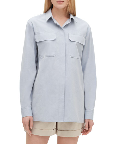 Lafayette 148 New York Everson Button-Down Sueded Italian Cotton Blouse