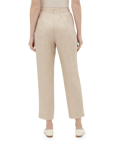 Lafayette 148 New York Dekalb Straight-Leg Cropped Nexus Linen Pants