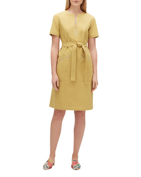 Lafayette 148 New York Elizabella Zip-Front Short-Sleeve Fundamental Bi-Stretch Dress