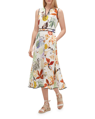 Janelle Fiore-Print Sleeveless Drape Cloth Midi Dress