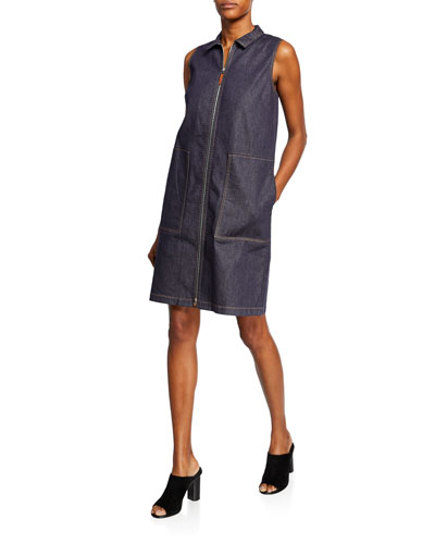 Theodore Zip-Front Iconic Denim Dress