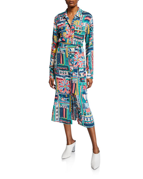 Lafayette 148 Dresses DOHA PALAZZO PATCHWORK-PRINTED LONG-SLEEVE CREPE SHIRTDRESS