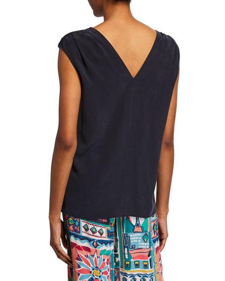 Lafayette 148 New York Nori V-Neck Sleeveless Sandwashed Silk Blouse