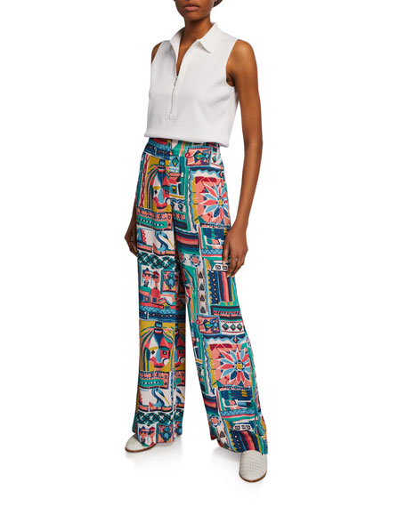 Lafayette 148 New York Kensington Palazzo Patchwork Printed Wide-Leg Crepe Pants
