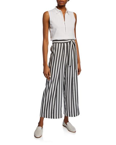 Lafayette 148 New York Skyline Showcase-Stripe Cropped Wide-Leg Silk Pants