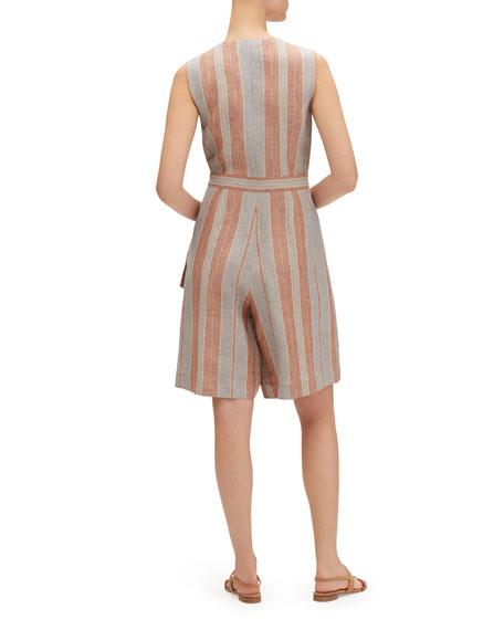 Lafayette 148 New York Oaklyn Lombardy-Stripe Wrap-Front Sleeveless Linen Jumpsuit