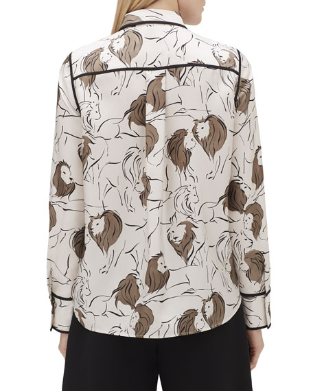 Lafayette 148 New York Scottie Italia Leo-Print Button-Front Silk Blouse