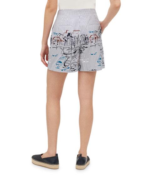 Lafayette 148 New York Ryerson Lido-Print Striped High-Waist Shorts