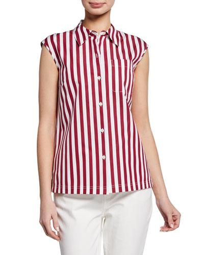 Yani Strada-Stripe Button-Front Sleeveless Blouse