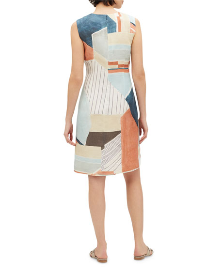 Lafayette 148 New York Taren Geometric Sleeveless Linen Dress