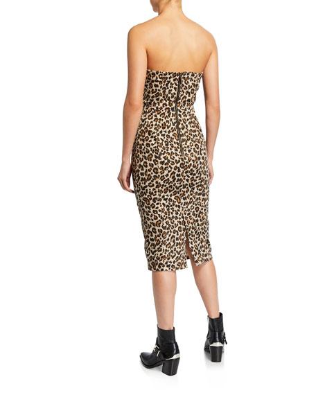 Veronica Beard Liza Leopard-Print Strapless Dress