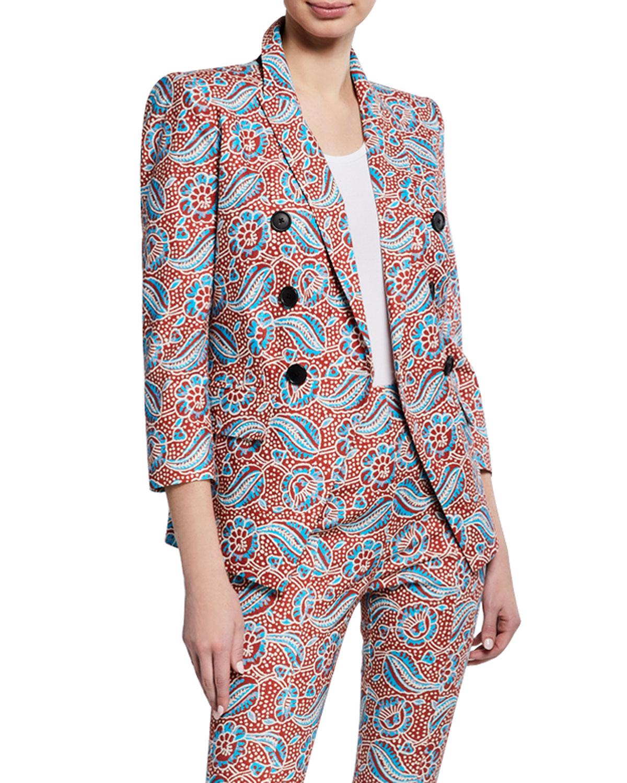 713da3cec56d Veronica Beard Empire Printed Linen-Blend Dickey Jacket | Neiman Marcus