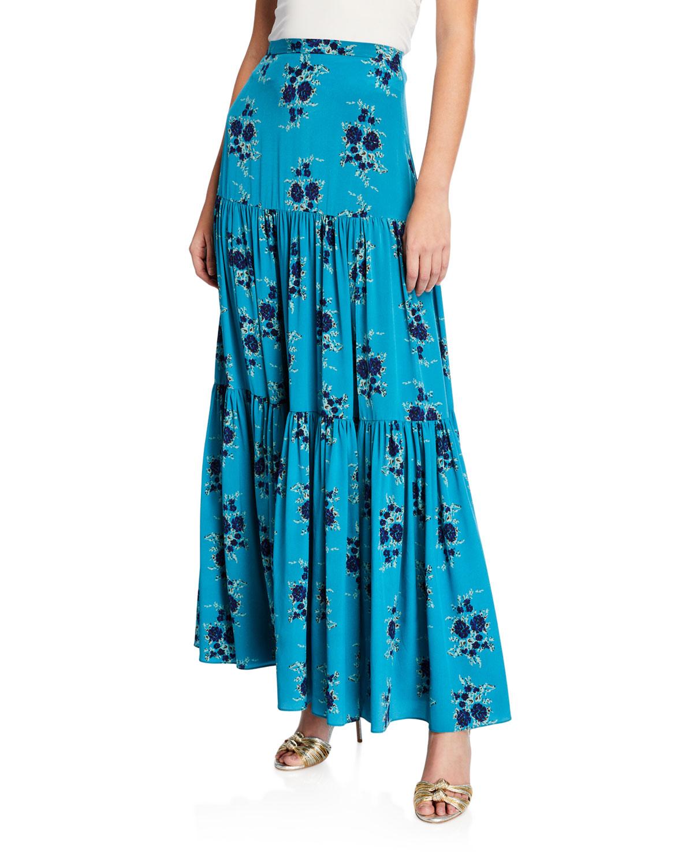 c65ecc685592d Veronica Beard Serence Tiered Floral Silk Maxi Skirt