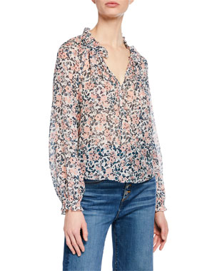 f30b66f382063 Veronica Beard Antonette Long-Sleeve Floral Silk Top