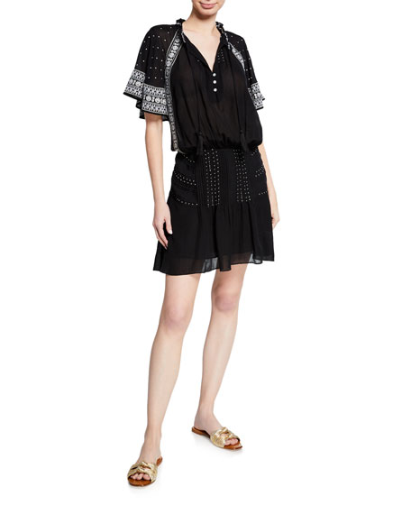 Veronica Beard Minos Embroidered Flutter-Sleeve Short Dress