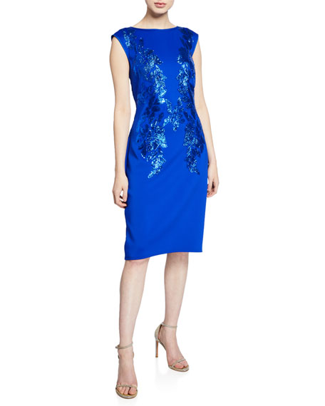 Tadashi Shoji Sequin-Detail Cap-Sleeve Neoprene Sheath Dress