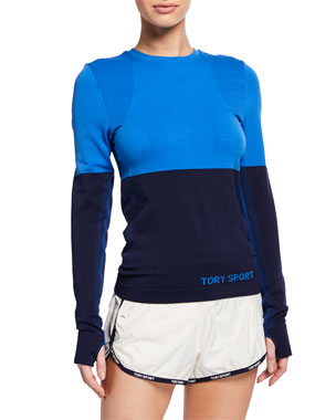 best cheap d55d6 9f602 Tory Sport Two-Tone Seamless Long-Sleeve Active Top