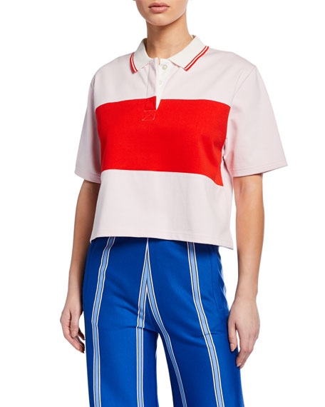 Tory Sport Colorblock Cropped Polo Shirt