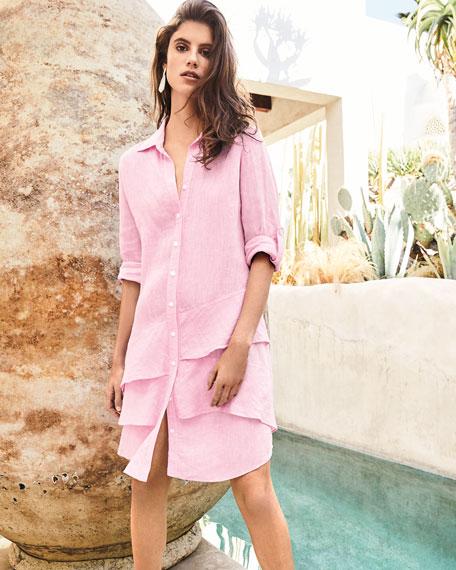 Finley Petite Jenna Washed Linen Shirtdress with Tiered Ruffles