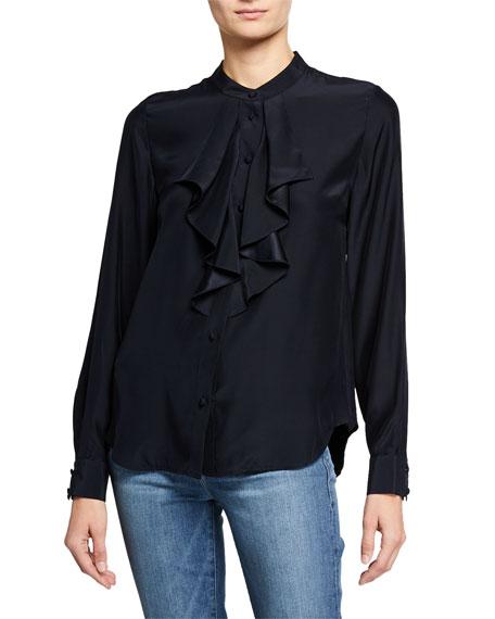 FRAME Ruffle Cascade Long-Sleeve Silk Button-Up Top