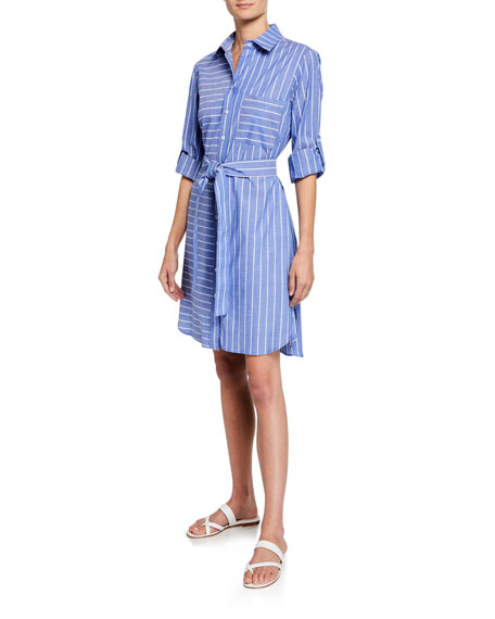 Finley Dresses PETITE PARKER MIXED STRIPE LONG-SLEEVE SHIRTDRESS