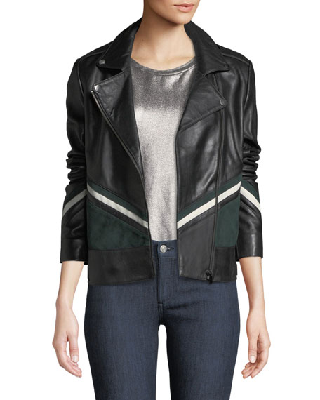 Neiman Marcus Leather Collection Striped Colorblock Leather Moto Jacket