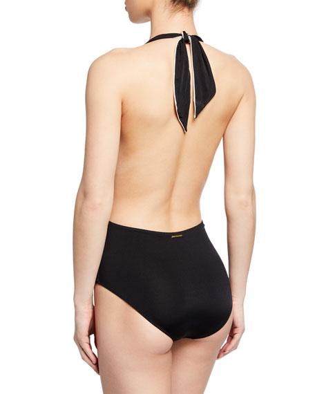 Stella McCartney Ballet Tie-Front Halter One-Piece Swimsuit