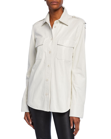 Helmut Lang Leather Button-Front Shirt