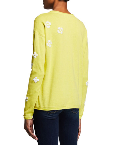 Image 3 of 3: Lisa Todd Petite Daisy Crazy Embroidered Long-Sleeve Cotton Sweater