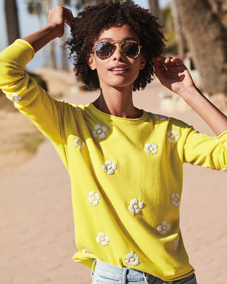 Image 2 of 3: Lisa Todd Petite Daisy Crazy Embroidered Long-Sleeve Cotton Sweater
