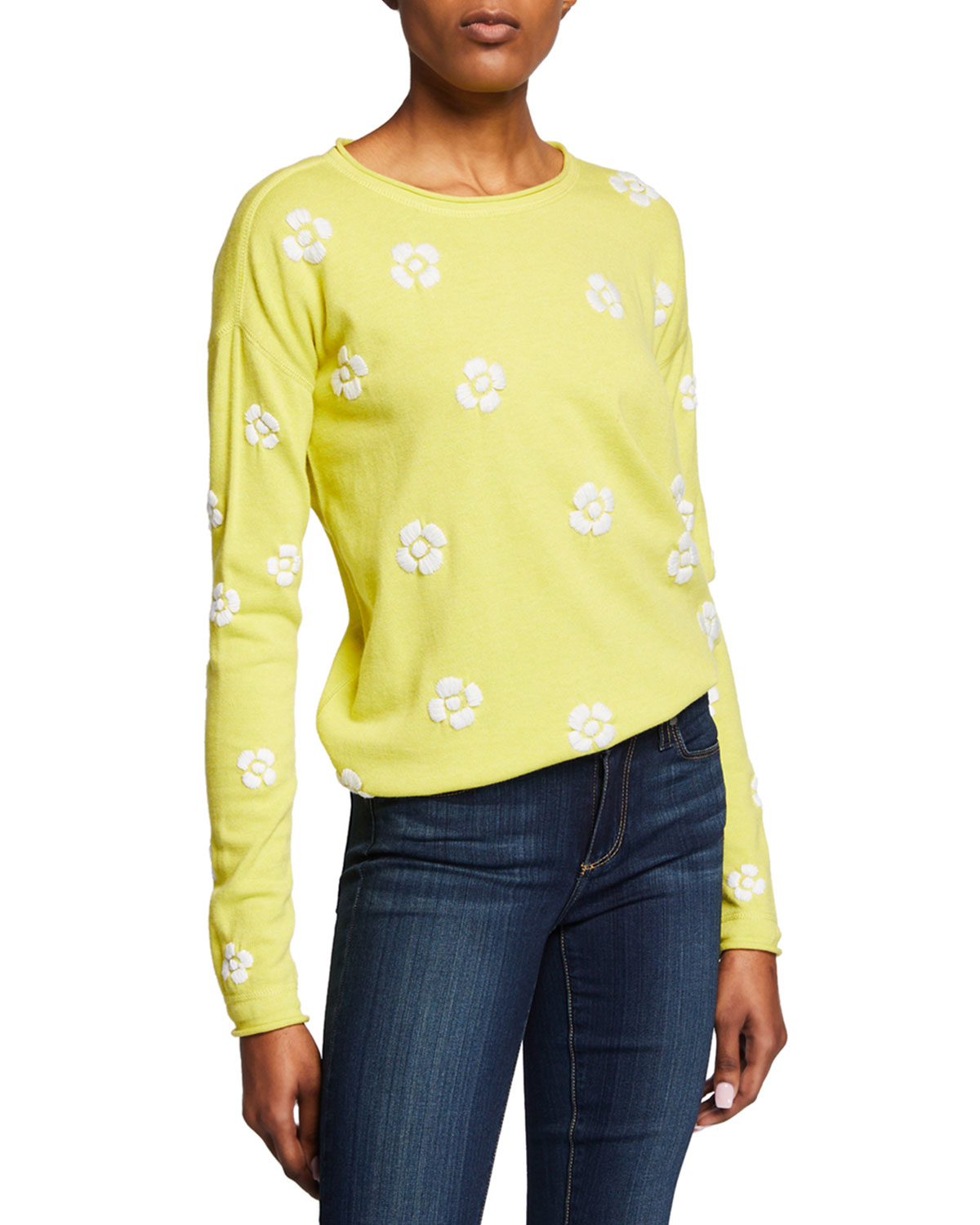 Lisa Todd Petite Daisy Crazy Embroidered Long-Sleeve Cotton Sweater