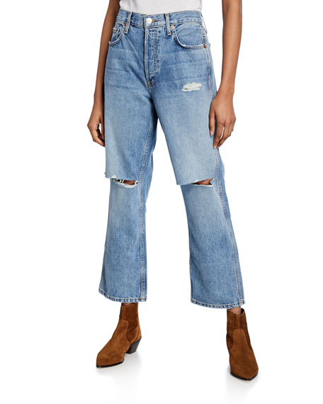 RE/DONE Low Slung Crop Distressed Jeans