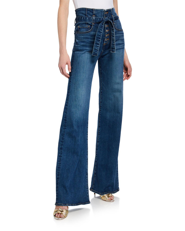8a48c7093a Veronica Beard Rosanna Corset Wide-Leg Belted Jeans